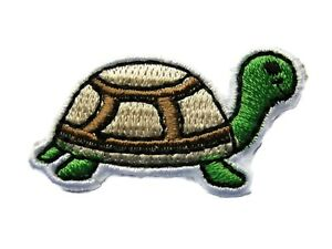 Turtle-Tortoise-Green-Beige-Brown-Child-Embroidered-Iron-On-Patch-1-5-Inch