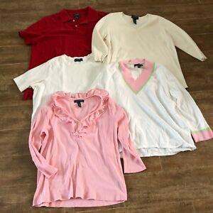 1X-amp-XL-Ralph-Lauren-Shirt-lot-women-knit-top-shirt-sweater-plus-size-white-pink