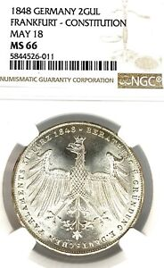German States Frankfurt 1848 Two Gulden Coin Thaler NGC MS 66 Parliament STG BU
