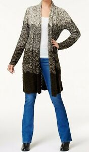 NEW-Style-amp-Co-Women-039-s-Ombre-Duster-Cardigan-in-Dark-Ivy-Combo-Size-L-MSRP-79