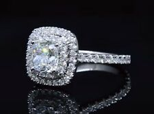 2.00ct Natural Cushion Double Halo Pave Diamond Engagement Ring - GIA Certified