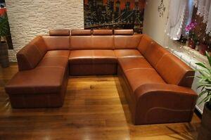 Echtleder Ecksofa U Form Leder Kopfstutzen Sofa Couch Mit