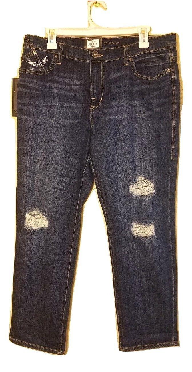 Nwt Rock & Republic Bequemer Boyfriend Zerrissen Jeans - Dunkle Waschung - 12 M