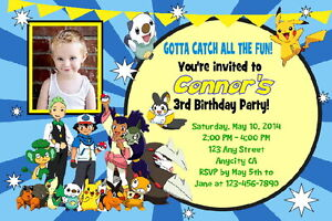 Image Is Loading CUSTOM POKEMON BIRTHDAY PARTY INVITATION Amp FREE THANK
