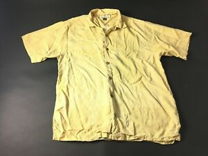 Tommy-Bahama-Mens-Yellow-Short-Sleeve-Button-Front-Silk-Shirt-Size-Small