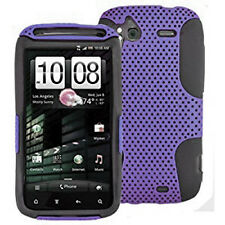 For HTC Sensation 4G Hybrid Hard Silicone Rubber Gel Skin Case Cover Purple Mesh