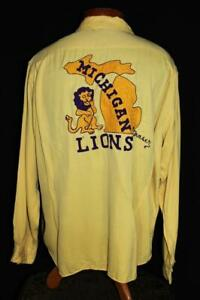 RARE-VINTAGE-1940-039-S-YELLOW-EMBROIDERED-LIONS-RAYON-GABARDINE-SHIRT-SIZE-XLARGE