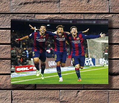 Lionel Messi Neymar Suarez Barcelona Football Poster Fabric 30 24x36 E-353 MSN