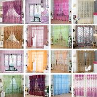 Voile Door Curtain Window Room Drape Divider Totem Floral Sheer Valance Divider