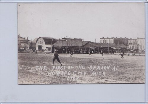 1908 HOWARD CITY MICHIGAN BASE BALL RPPC VG Baseball Postcard Post Card Fast Del
