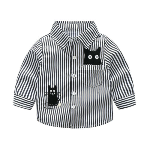 Studern Toddler Infant Baby Boys Cartton Cat Striped Printed T Shirt Tops
