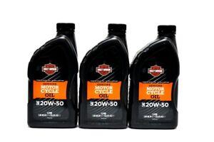 Harley-Davidson-H-D-Motorenoel-SAE-20W50-mineralisch-3x-1-Liter-62600017-Ol