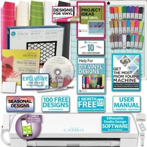Silhouette-Cameo-3-Bundle-Vinyl-Starter-Kit-Sketch-Pens-Exclusive-Vinyl-Designs