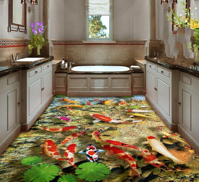 3D fish water stone 5740 Floor WallPaper Murals Wall Print Decal 5D AJ WALLPAPER