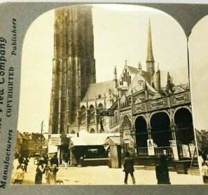 Stereoview-Early-1900s-Cathedral-of-St-Rombold-Malines-Belgium-Keystone-A11