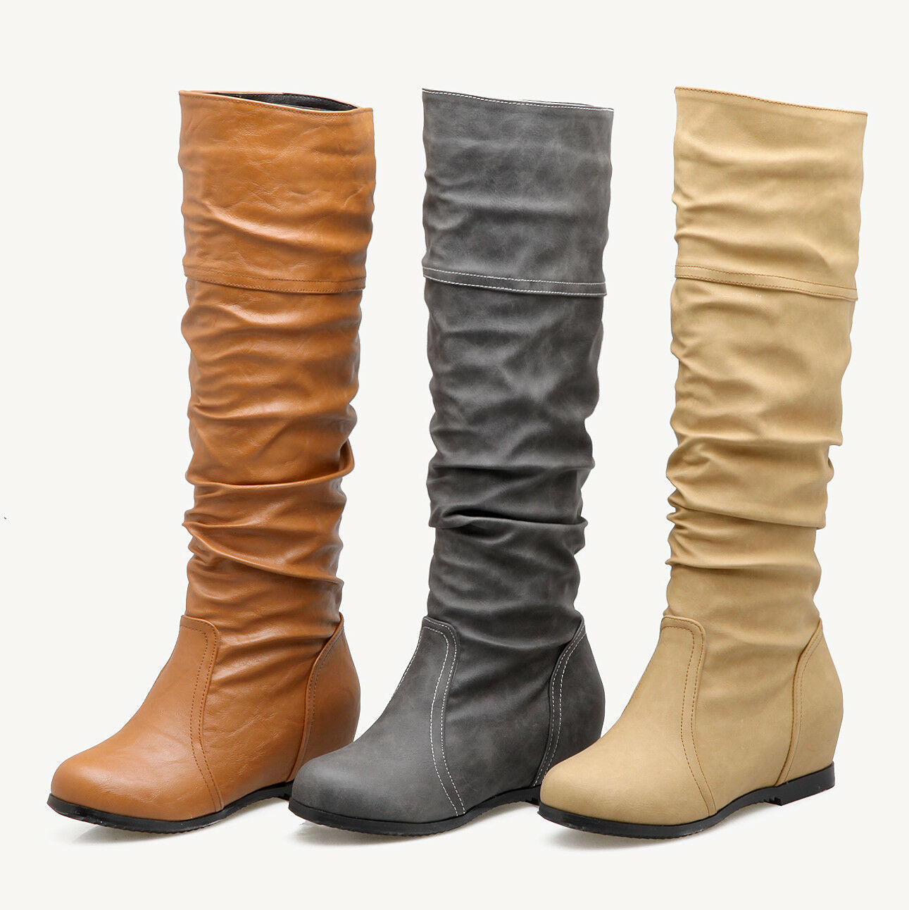 Ladies Faux Leather Knee High Boots Round Toe Wedge Heel shoes Plus Size US 216