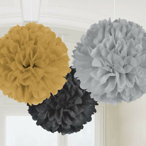 Gold-Black-Silver-Fluffy-Pom-Pom-Ball-Paper-Hanging-Decorations-Hollywood-Party