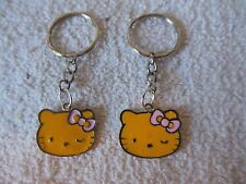 """Hello Kitty """""""" Yellow / silver tone """""""" Keychain Ring** Lot-of-2** Free Shipping"""