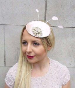 Blush Pink Pale Peach Gold Silver Feather Fascinator Hair Clip Hat ... c587708ac649