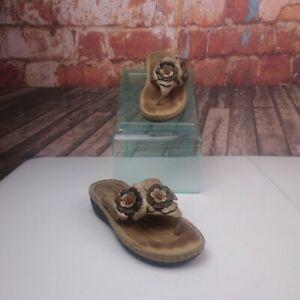 Clarks-Artisan-Floral-Leather-Sandals-Flip-Flops-Size-6