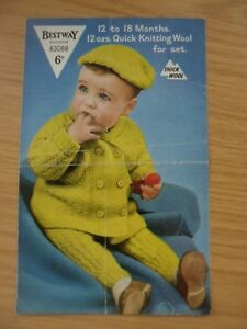 e7527421b RARE VINTAGE 1950 s BESTWAY QK PRAM SET KNITTING PATTERN 22 in COAT ...