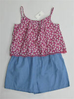 NWT Baby Gap Girls 12-18-24 Mth or 3t Summer Camp Pink Ditsy Flower Short Romper