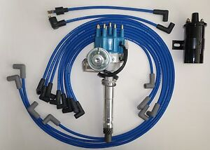 SMALL BLOCK CHEVY Small BLUE HEI DistributorBlack CoilPLUG WIRES