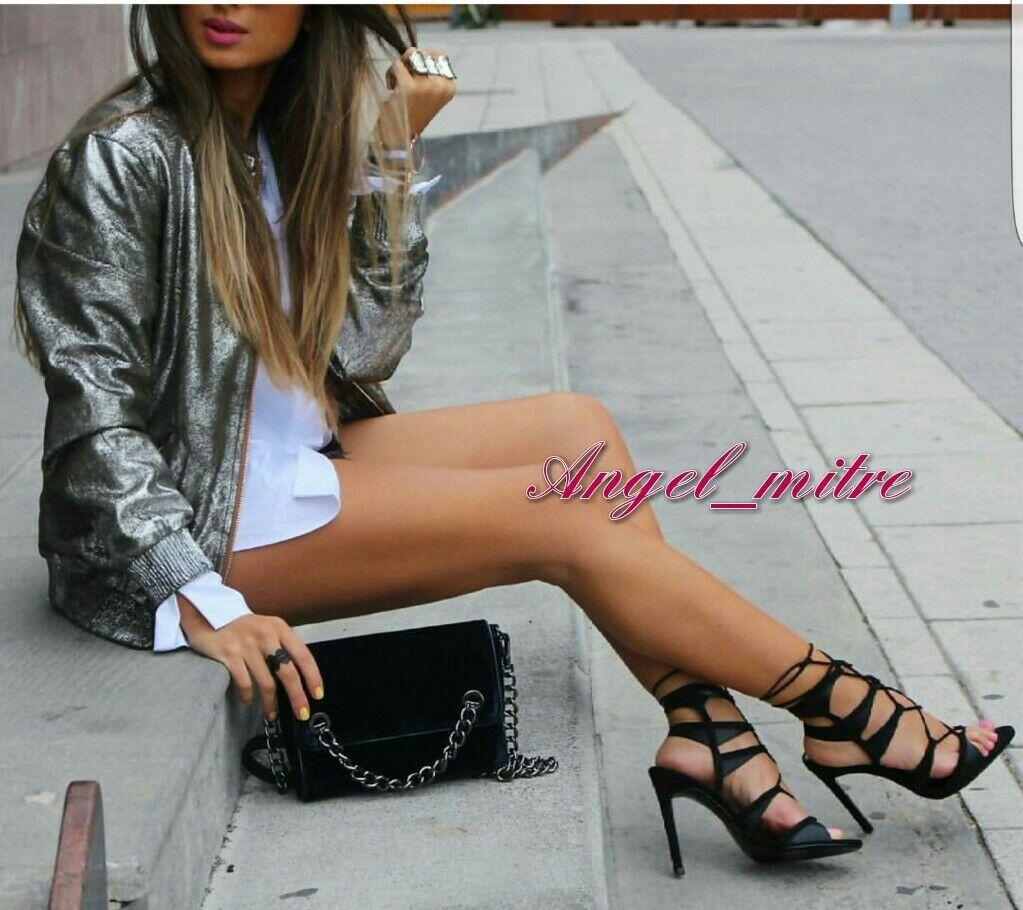 ZARA BLACK ANKLE STRAPPY STRAPPY ANKLE HEELS Schuhe UK 6 EURO 39 71b7a3