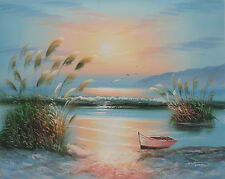 Very nice oil painting of sunset beach with crashing waves and boat on canvas.