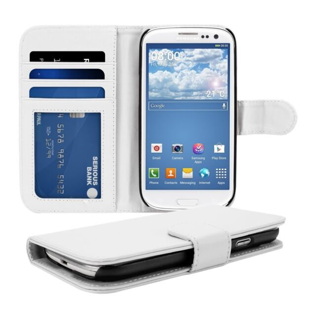 WALLET SYNTHETIC LEATHER CASE FOR SAMSUNG GALAXY S3 S3 NEO WHITE PURSE COVER