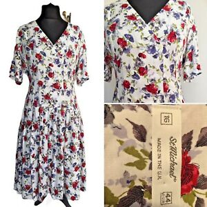 Size 16. St Michael Red Print Day Dress