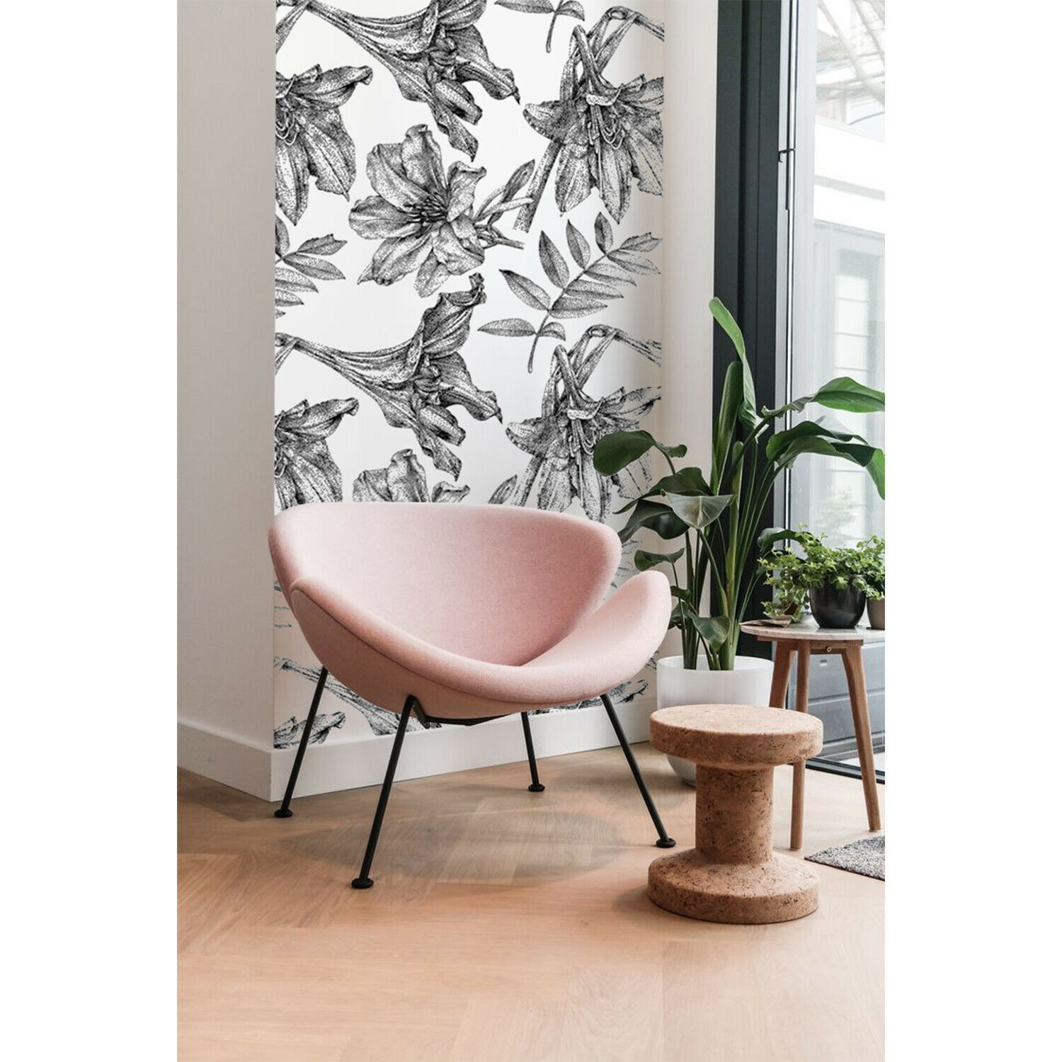 Dotted Lillies removable wallpaper Floral mural Flowers wall decor self-adhesive