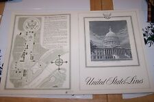 United States Lines Menu Cover 1960, United States Capitol, New Old Stock