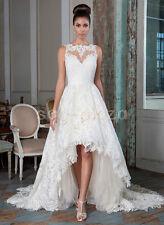 Vintage Lace Beach Wedding Dress Short Front Long Back Bridal Gown Custom Size