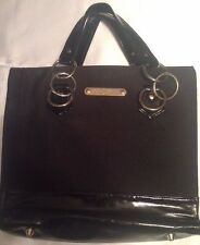 """Mary Kay Solid Black Gold Purse  Bag / Shoulder Tote Purse 12"""" x 7"""" Pink Lining"""