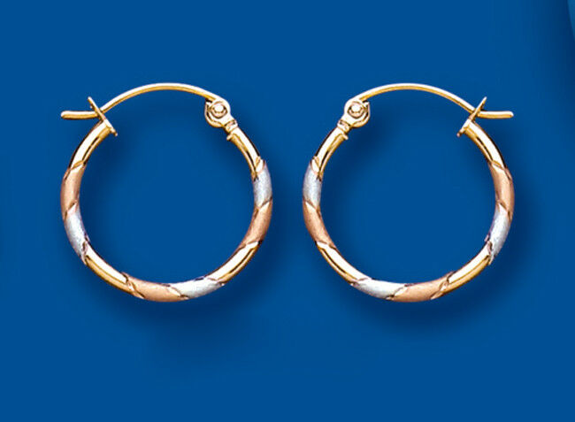 Hoop Earrings gold Creole 9 Carat pink Yellow White gold 15mm Hallmarked