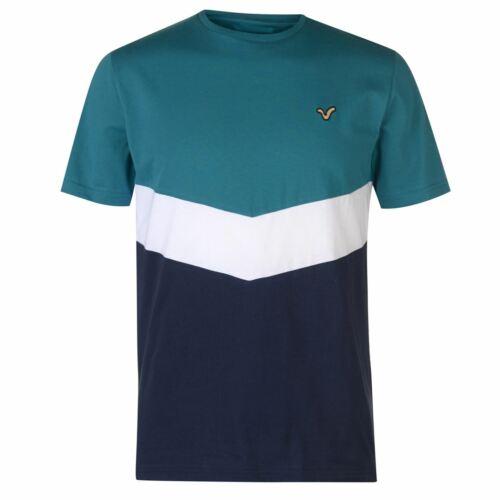 VOI Mens Front Panel T Shirt Crew Neck Tee Top Short Sleeve Lightweight Cotton