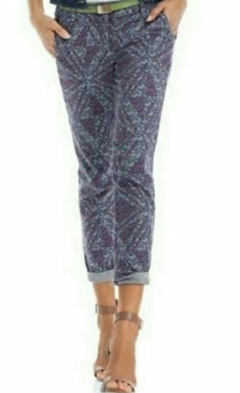 Cabi Palm Beach Crop Floral Geo Print Pants Size 8