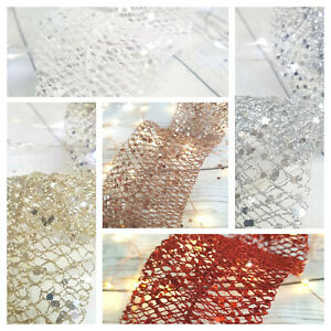 Glitter Mesh 150cm Christmas Tree Garland Champagne Silver Rose Gold Red Peacock Ebay