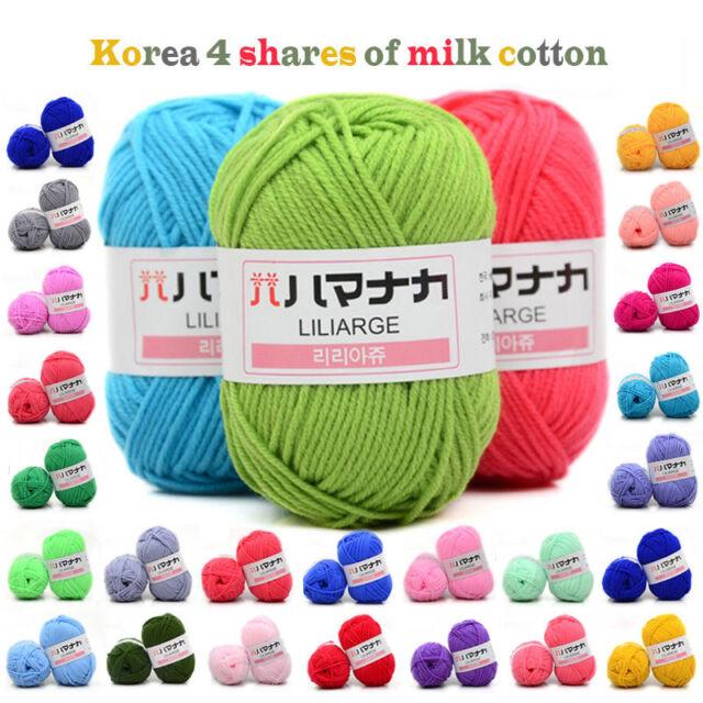 Smooth Cotton Natural Hand Knitting Wool Yarn Ball Baby Wool Craft-Blue/&White