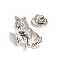 Silver Seated Bulldog Design Lapel Pin Badge English Dog Bulldogs Pet Badges New