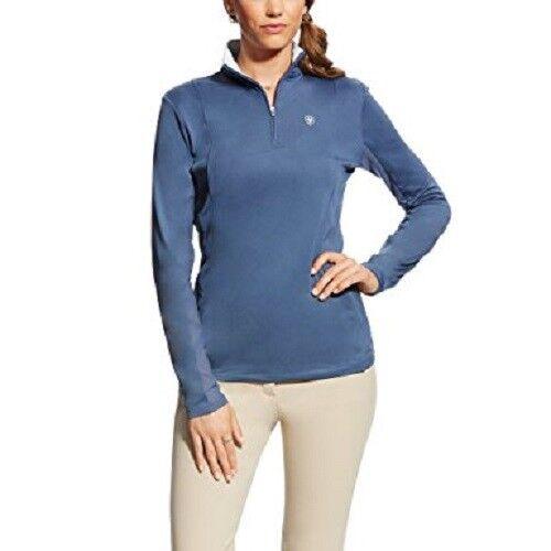 New  Ariat Ladies Sunstopper 1 4 Zip bluee Flint Sizes S - XL