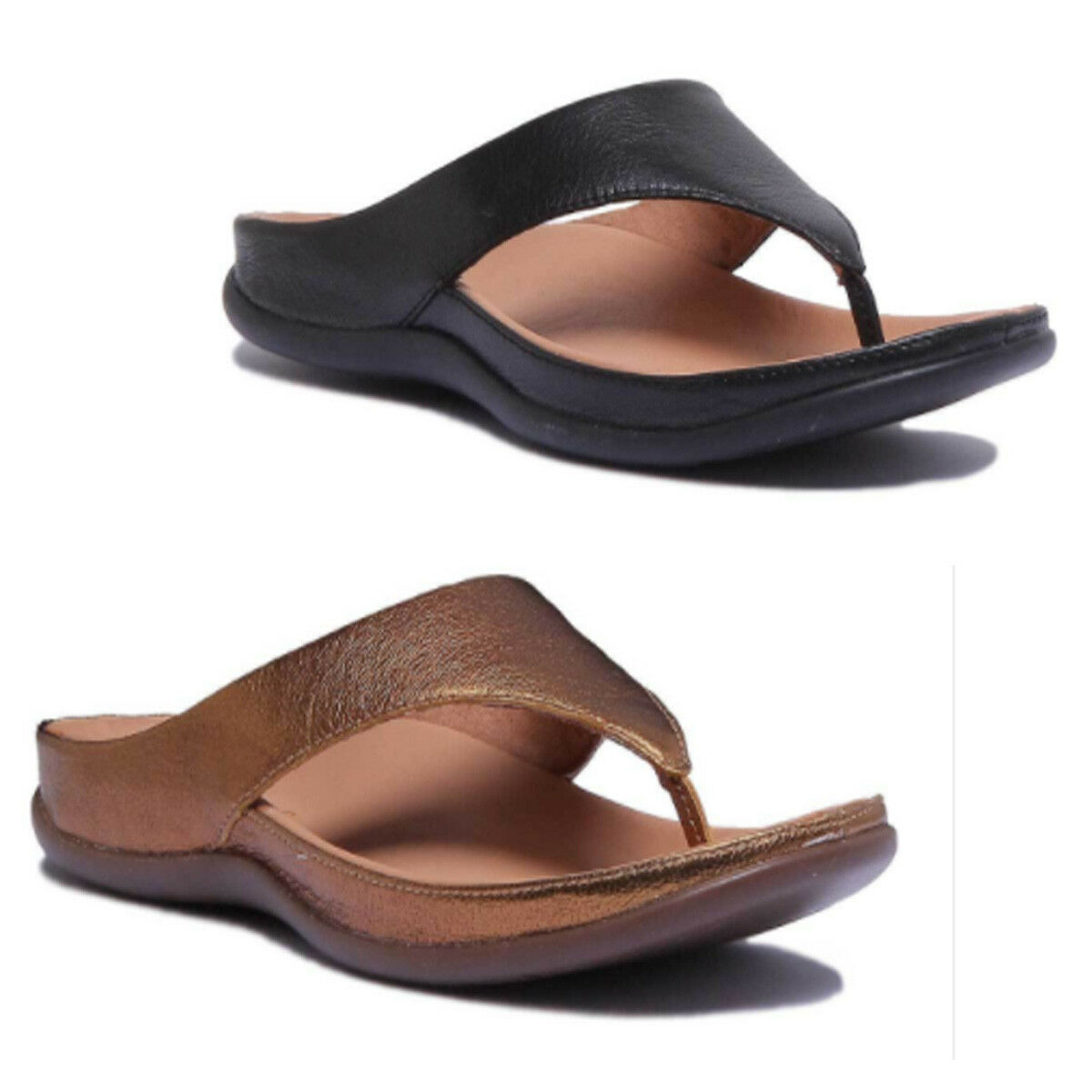 Strive Maui Women Leather Matt Black Toe Post Sandals Size UK 3 - 8