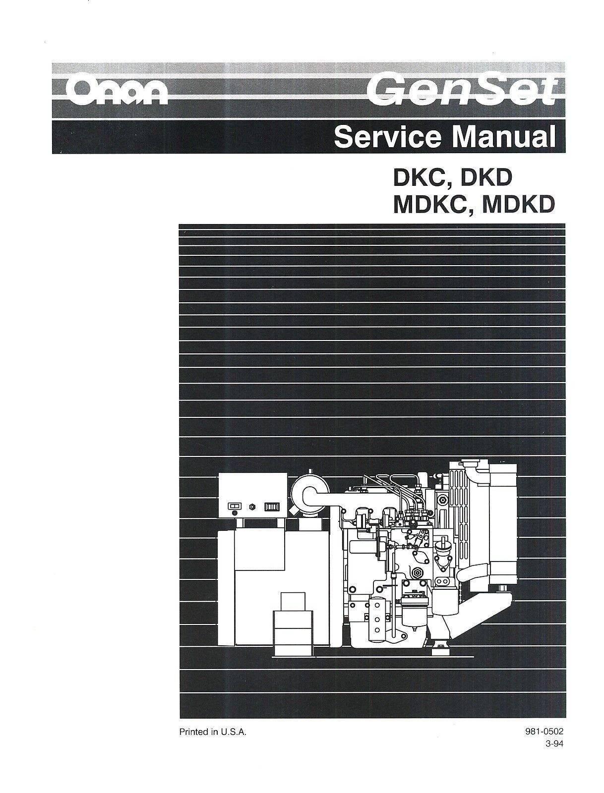 Onan mdkd spec 99999a marine genset illustrated parts list manual.