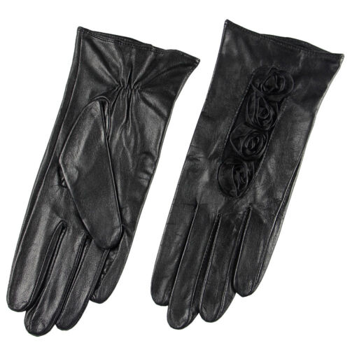Woman Genuine Nappa Leather /& Lace Rose Fall Gloves More Color On Sale #014