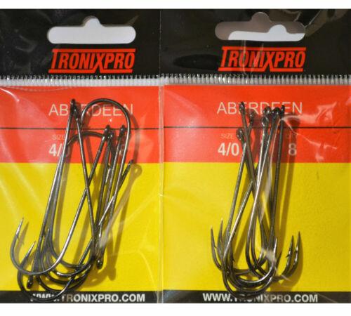 2x Tronixpro Aberdeen Hooks Sea Fishing Bait Hooks Size 4//0 Long Shank