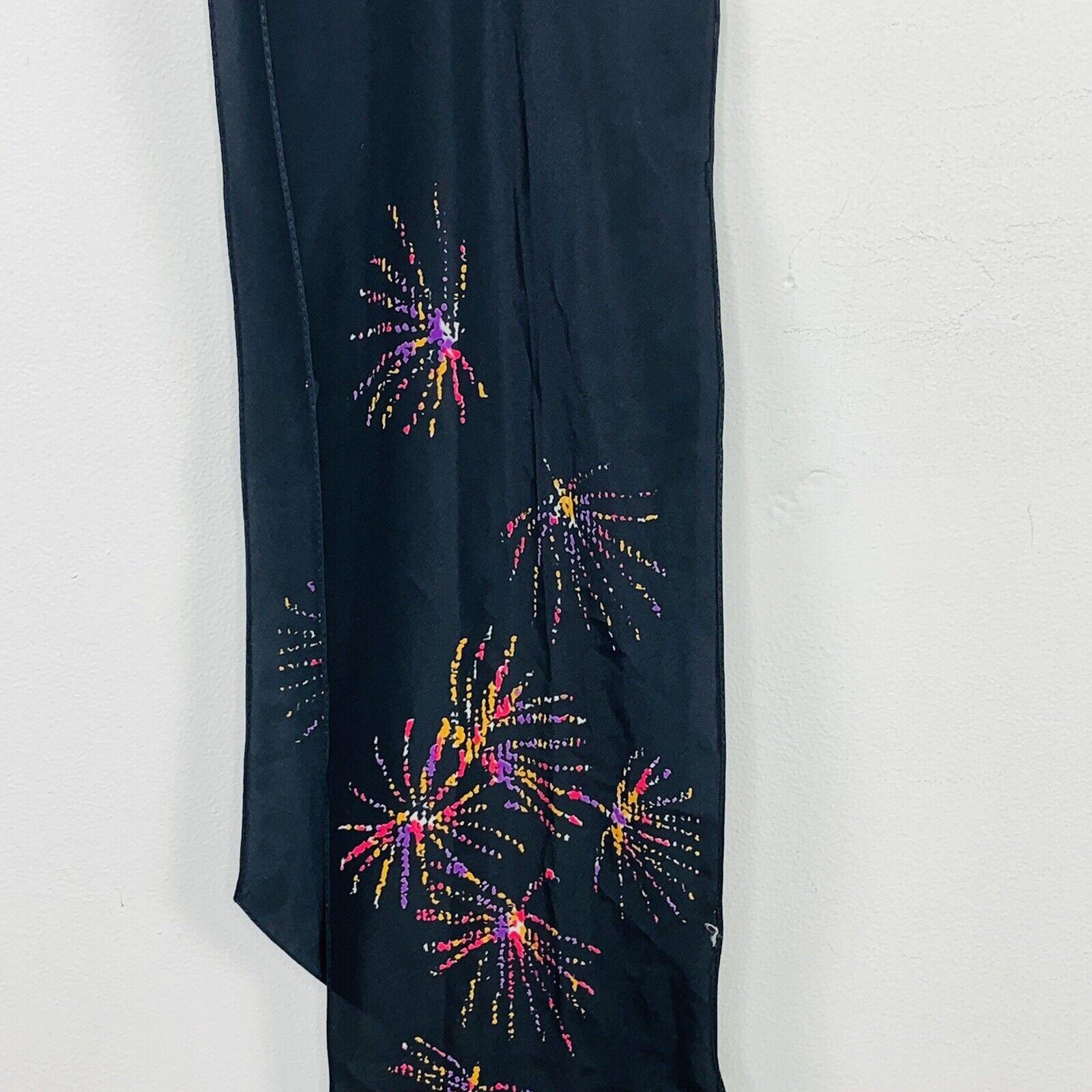 Vintage Vera Womens Rectangle Scarf Wrap Black Multicolor Fireworks Lightweight