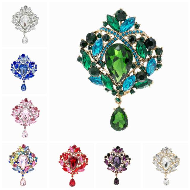 Wedding Rhinestone Crystal Drop Bouquet Flower Brooch Pin Jewelry 10 Colors 4082
