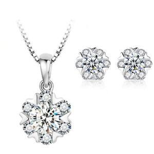 Heart-Pendant-Necklace-Stud-Earrings-925-Sterling-Silver-Chain-Womens-Jewellery