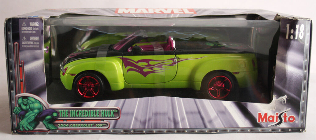 VERY VERY VERY RARE 2004 MAISTO THE INCREDIBLE HULK CHEVROLET SSR 1 18 MARVEL NEW MIB   6580d0